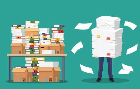 Geschäftsmann hält Stapel von Büropapieren und von Dokumenten an. Vektorgrafik