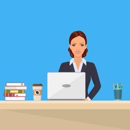 Business woman Sitting Desk Working Laptop.