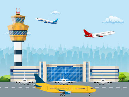 Nowożytny budynek lotniskowy terminal z wieżą kontrolną. Pas startowy z samolotami. Ilustracja wektorowa w stylu płaski