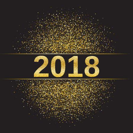 tinsel: Gold glitter Happy New Year 2018 illustration.