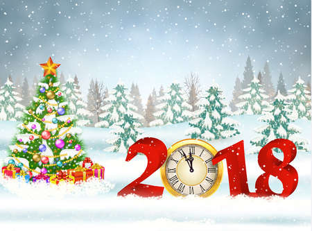 New year and Merry Christmas Winter background 2018 with clock on nature background with Christmas tree
