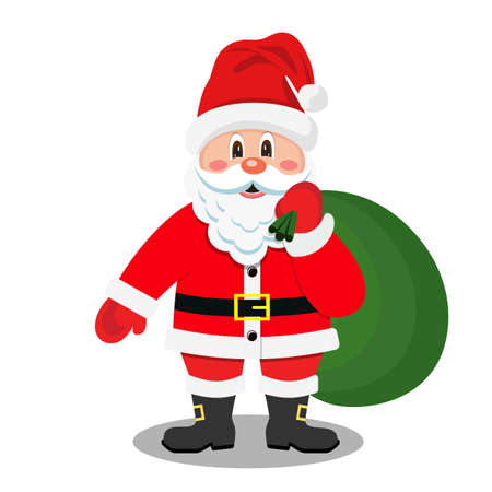 Cartoon Santa Claus smiling with gift bag. Vector illustration in flat style.