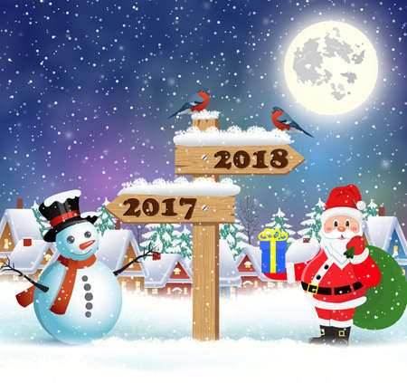 Santa Claus with gift bag and snowman and wooden sign showing the way to 2018 against the the winter country landscape. Christmas and New Year greeting card. Illustration