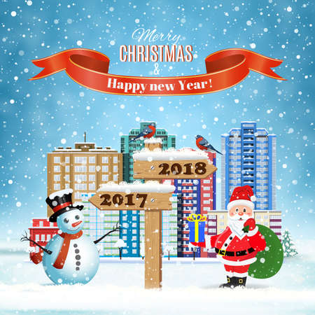 happy new year and merry Christmas winter city street with Santa Claus with gift bag and snowman and wooden sign showing the way to 2018 . concept for greeting and postal card, invitation