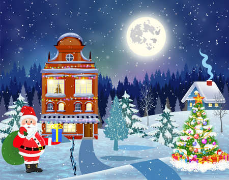 house in snowy Christmas landscape at night