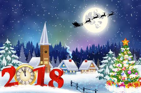 Carte de voeux vintage de Noël sur le village d'hiver Banque d'images - 89978433