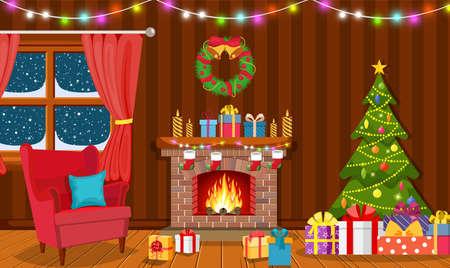 Weihnachtsinnenraum des Wohnzimmers
