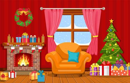 Christmas interior of the living room with a Christmas tree, gifts and a fireplace. Vector illustration in a flat style Stock Illustratie