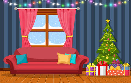 Christmas room interior. Christmas tree, gift and decoration. Vector illustration in a flat style