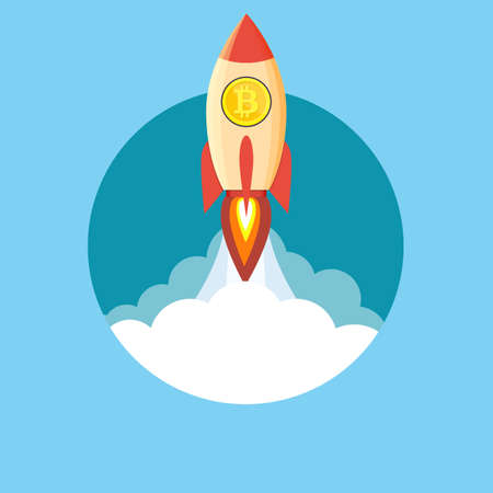 Rocket flying over clouds with bitcoin icon. Vector illustration in flat style Vectores