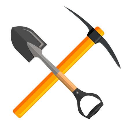 Shovel and pick axe tools cartoon vector Illustration