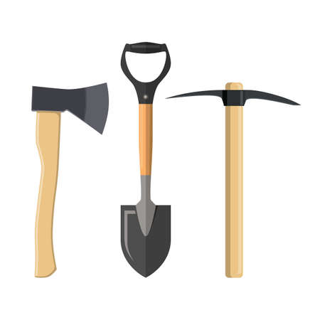 Pick axe, shovel and axe Vector illustration in flat style