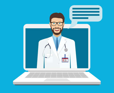 Online medical consultation and support. Online doctor. Vector illustration in flat style Illusztráció