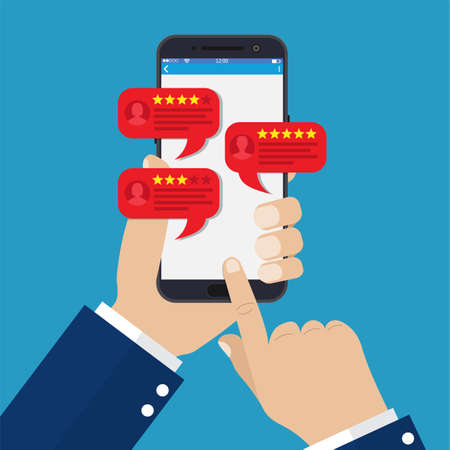 smartphone reviews stars with good and bad rate and text, concept of testimonials messages, notifications, feedback. Vector illustration in flat style Stock Illustratie