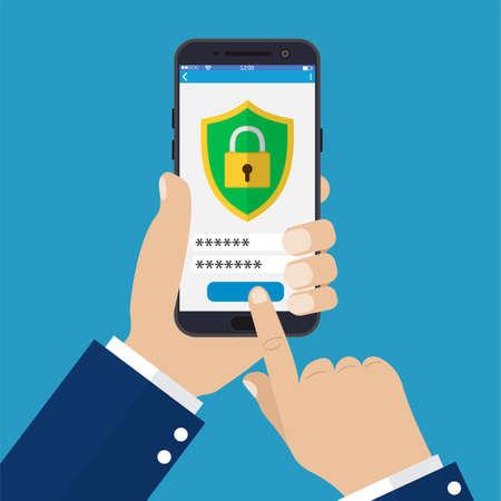 Mobile security app on smartphone screen. Hand holding phone. Vector illustration in flat style