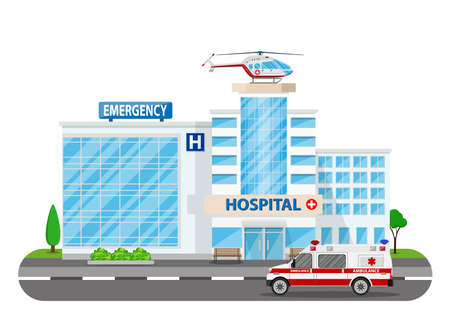 Hospital building, medical icon. Healthcare, hospital and medical diagnostics. Urgency and emergency services. Road, tree. Car and helicopter. Vector illustration in flat style