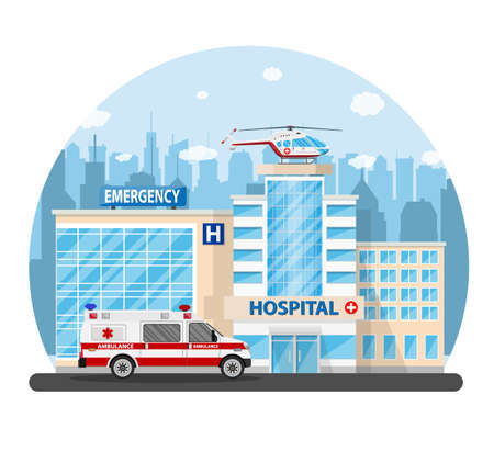 Hospital building, medical icon. Illustration