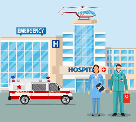 Hospital building, medical icon. Healthcare, hospital and medical diagnostics. Urgency and emergency services. Car and helicopter and team specialist doctor. Vector illustration in flat style