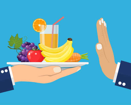 Rejecting the offered healthy food. Refuse raw food. Gesture hand NO . Tray of fresh vegetables. Veggie food, eat vitamins. Flat style vector illustration. Illustration