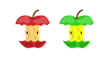 Apple stub waste or food leftovers garbage icon organic domestic litter or environment pollution element. Vector illustration in flat style