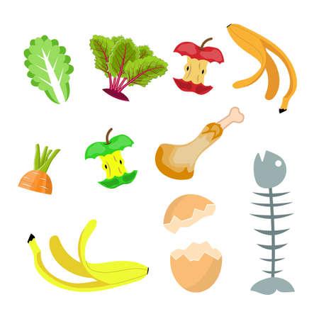 Organische Abfälle, Nahrungskompost-Sammlung Banane, Ei, Fischgräte und Apfelstumpf. Vektor-Illustration im flachen Stil Vektorgrafik