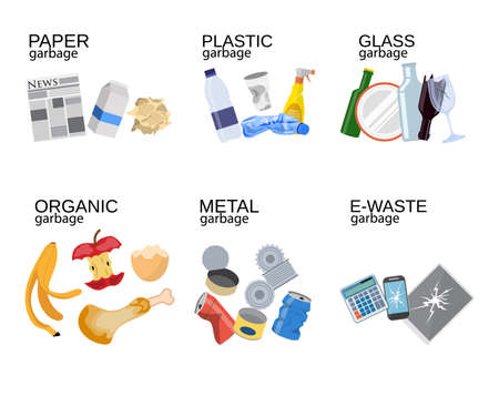 Garbage sorting food waste, glass, metal and paper, plastic electronic, organic. Vector illustration in flat style 일러스트
