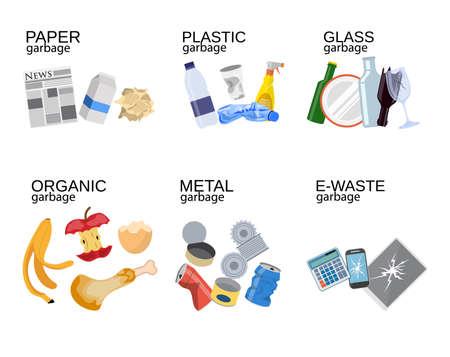 Müllsortierung Lebensmittelabfälle, Glas, Metall und Papier, Kunststoff elektronisch, organisch. Vektor-Illustration im flachen Stil
