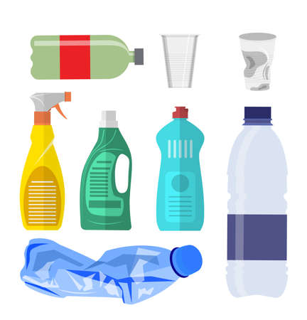 Plastic waste icon collection on white. Plastic bottles and another garbage, non-recyclable trash. Vector illustration in flat style Illustration