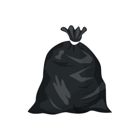 Plastic garbage bag icon. Container for trash isolated on white. Garbage recycling and utilization equipment. Waste management illustration in flat style. Illustration