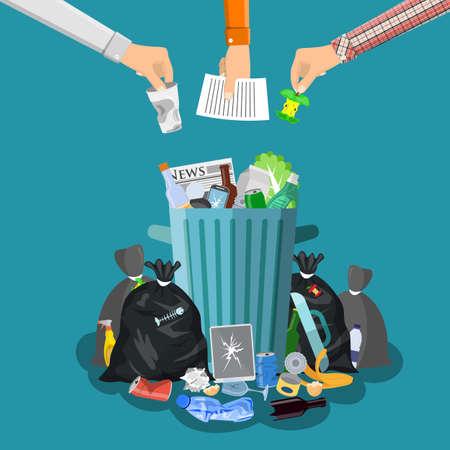 Steel garbage bin full of trash. Vectores