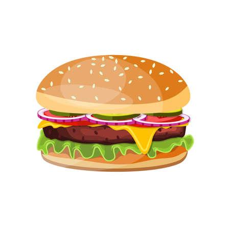 Pyszny hamburger ikona ilustracja wektorowa. Ilustracje wektorowe