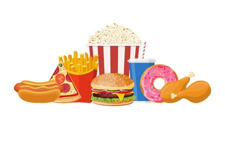 Colorful Fast food set Vector illustration.