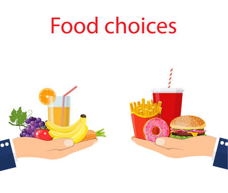 Food choice. Healthy and junk eating. Vector illustration. Vettoriali