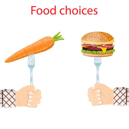 Food choice. Healthy and junk foods. Vector illustration. Vettoriali