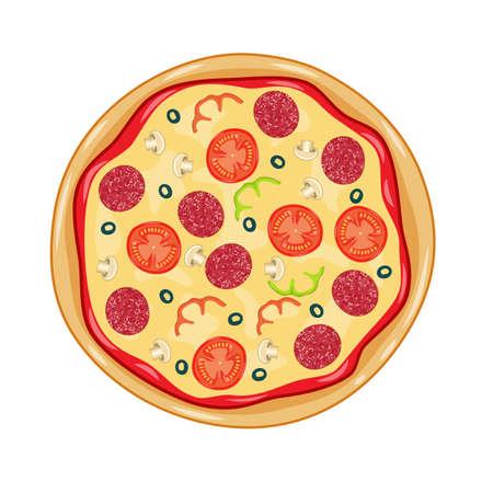 Italian pizza with tomato, sausage Vector illustration.