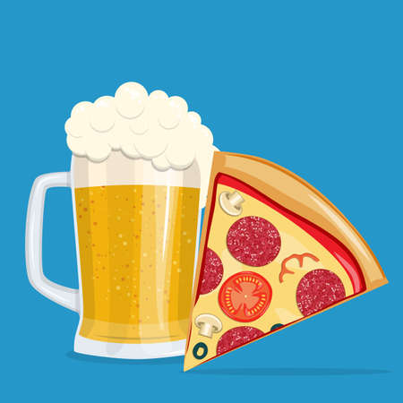 Beer and pizza. Vector illustration. Vettoriali