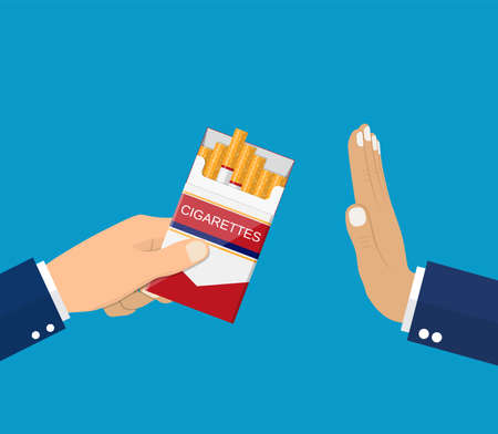 No smoking, reject cigarette offer, anti tobacco concept. Cigarette pack in his hand. Hand gesture to reject proposal smoke vector illustration in flat style. Ilustracja
