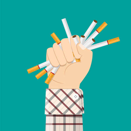 Cigarettes in fist hand. giving up smoking. Illustration