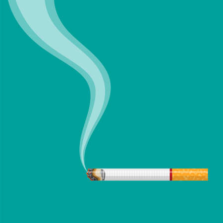 Burning cigarette with smoke Stock Illustratie