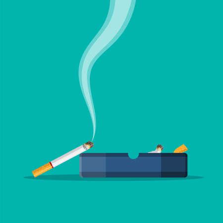 White ceramic ashtray full of smokes cigarettes. Vector illustration.