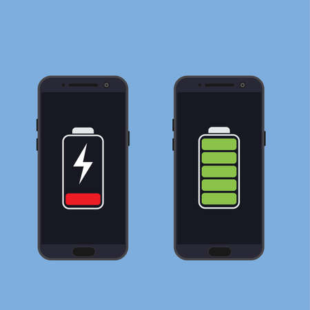 Two smartphones with energy level icons