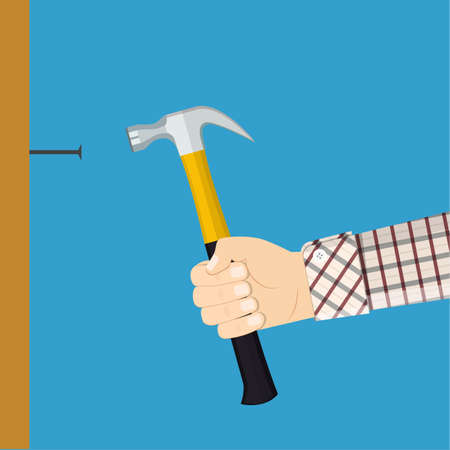 Man  hammers a nail into a wall Vector illustration.