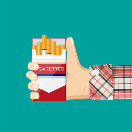 Open pack of cigarettes in a mans hand.  Vector illustration.