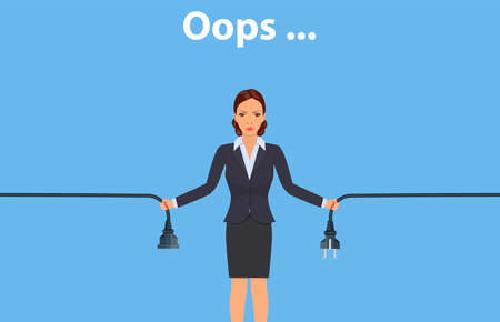 Woman holding unplugged cable. Vector illustration.