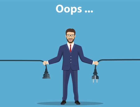 Error page. Man holding unplugged cable. Vector illustration. Vettoriali