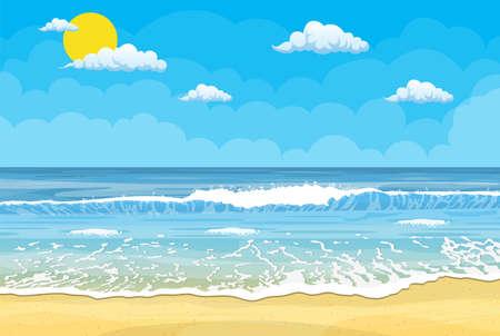 Sandy beach under the bright sun and clear sky