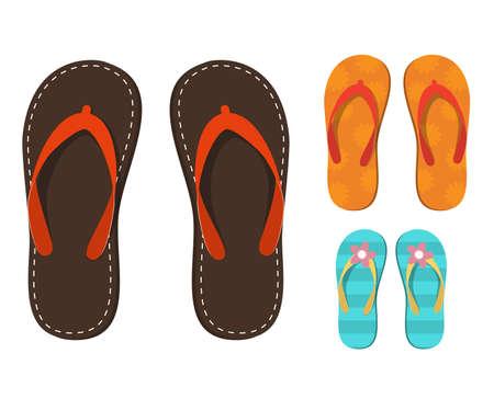 Set of colorful flip flops. Illustration
