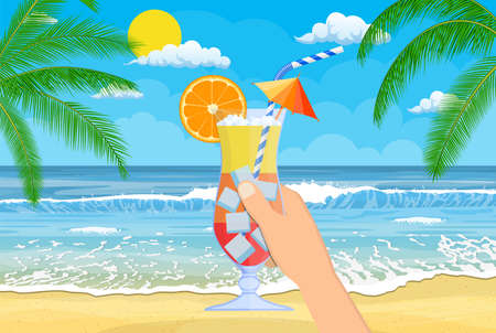 Glass of cold drink, alcohol cocktail in hand. Illustration