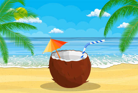 Coconut with cold drink on beach.