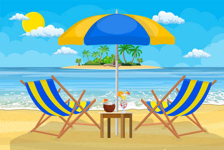Landscape of wooden chaise lounge with umbrella and drinks on beach.